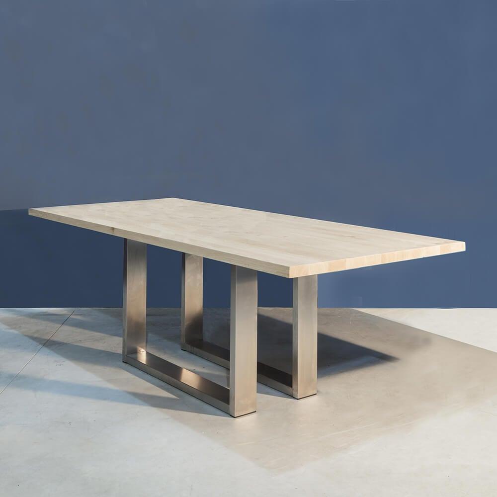 Eetkamertafel Eiken Met Rvs.Massief Eiken Eettafel Met Rvs Onderstel Concept Table