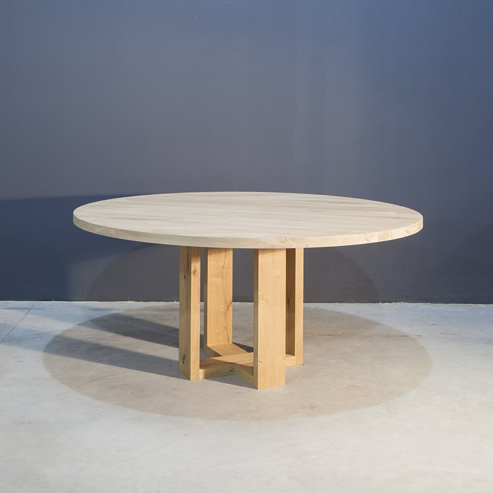 Massief eiken ronde eettafel concept table for Ronde eiken eettafel