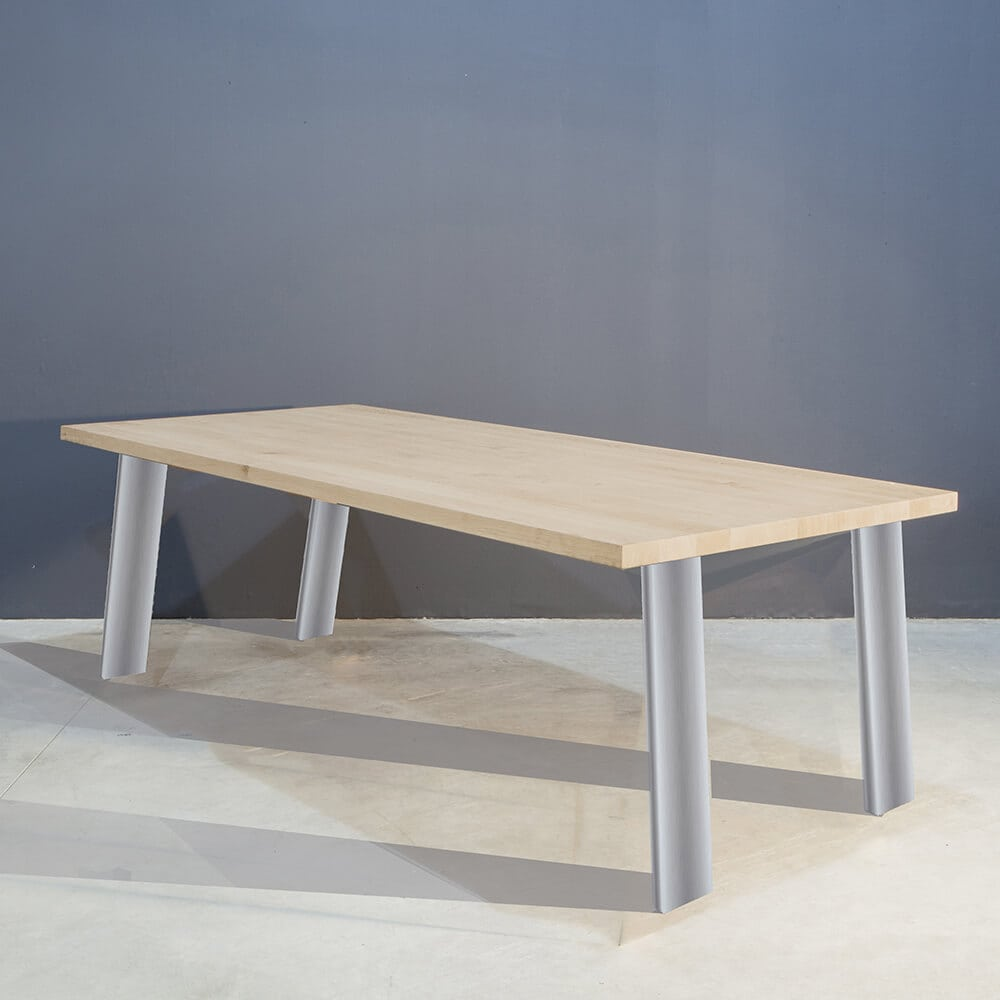 Eettafel roestvrij staal la forma arya eettafel antique eiken rvs poten 220x100 design rvs - Moderne eettafel ...