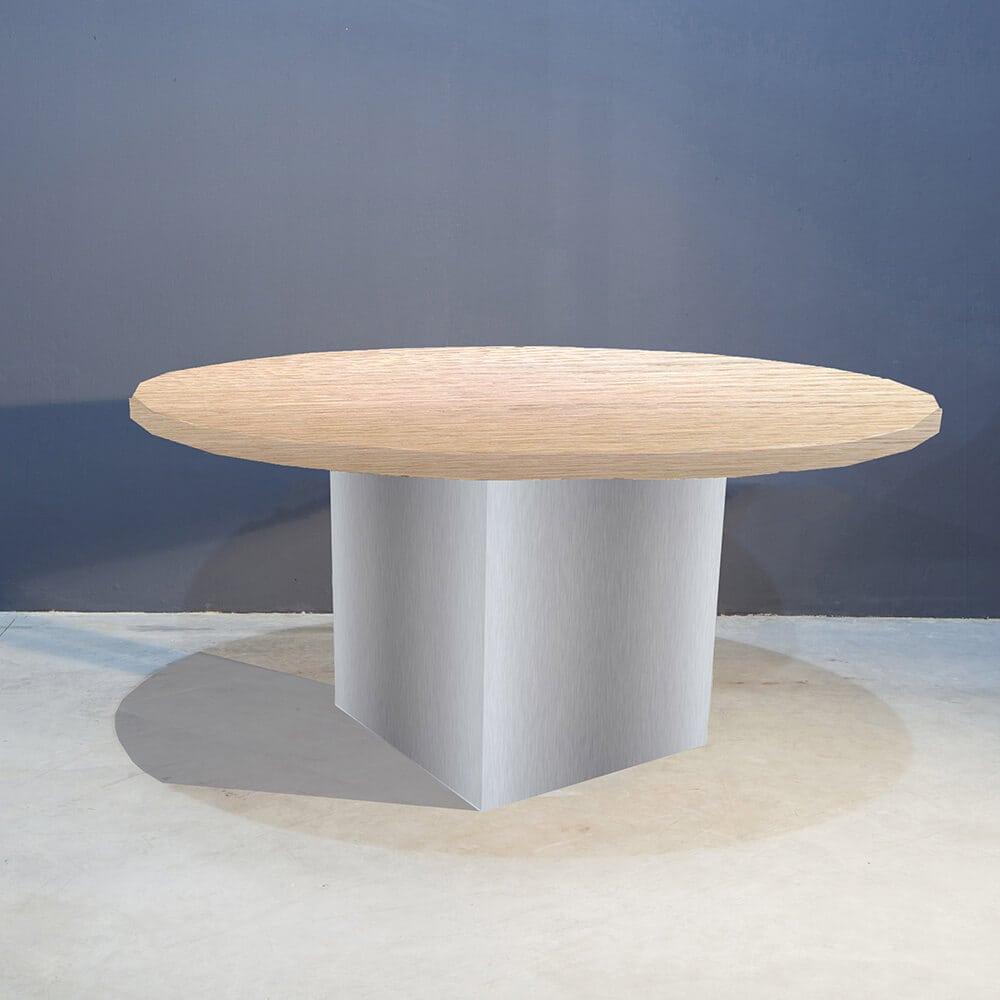 Robuuste Ronde Tafel.Robuuste Ronde Tafel Met Rvs Kolompoot Concept Table