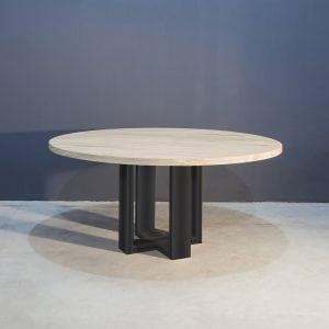 Ronde eettafel met industrieel zwart staal Kaal | Concept Table