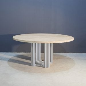 Ronde eettafel met modern RVS onderstel Kaal | Concept Table