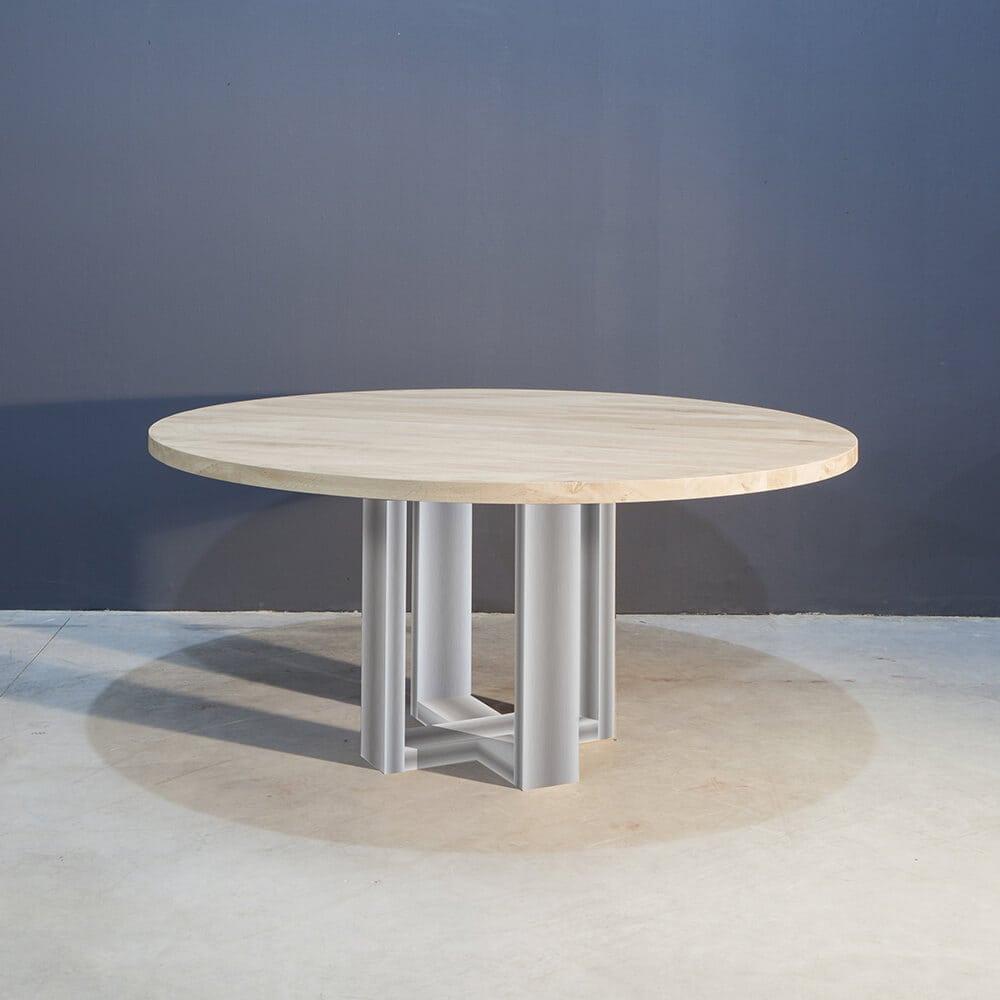 Moderne Ronde Eettafel.Ronde Eettafel Met Modern Rvs Onderstel Concept Table