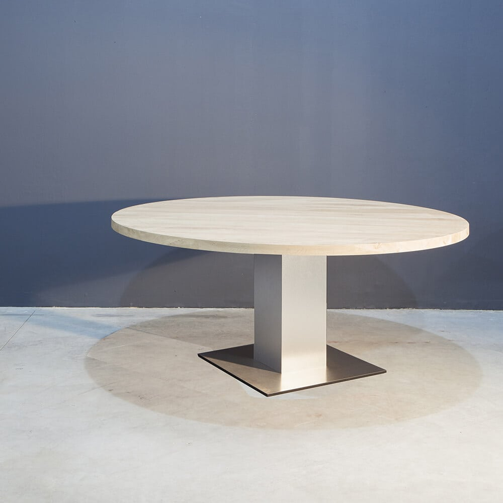 Ronde Eettafel Met Kolompoot.Ronde Eikenhouten Eettafel Met Rvs Kolompoot Concept Table