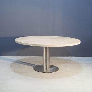 Ronde eikenhouten eettafel met RVS onderstel Kaal | Concept Table