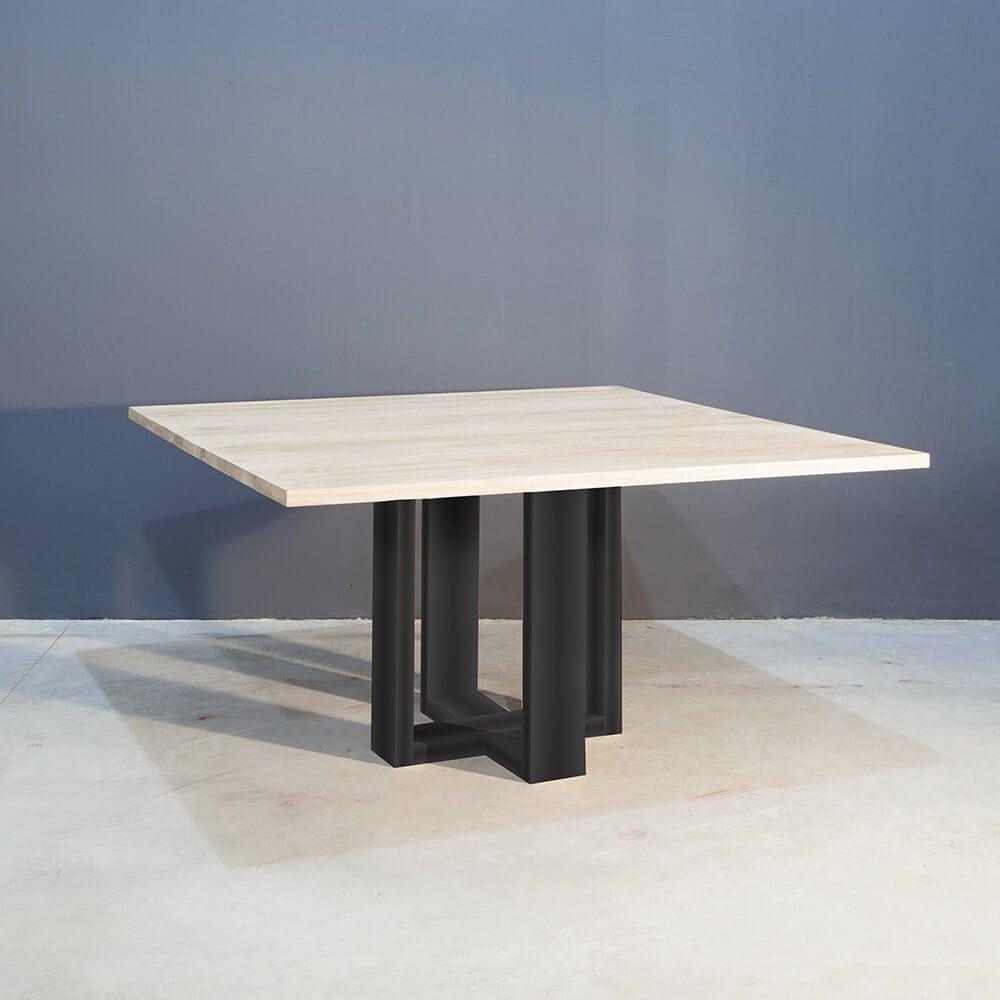 Vierkante Eettafel 150 150.Vierkant Eettafel Met Industrieel Zwart Staal Concept Table
